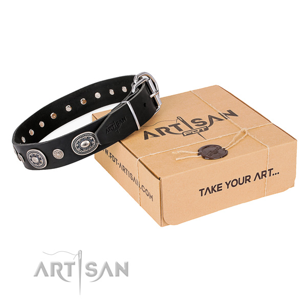 Durable genuine leather dog collar crafted for daily use
