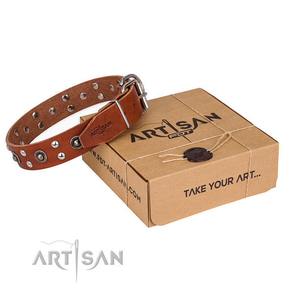 Corrosion resistant fittings on genuine leather collar for your lovely four-legged friend