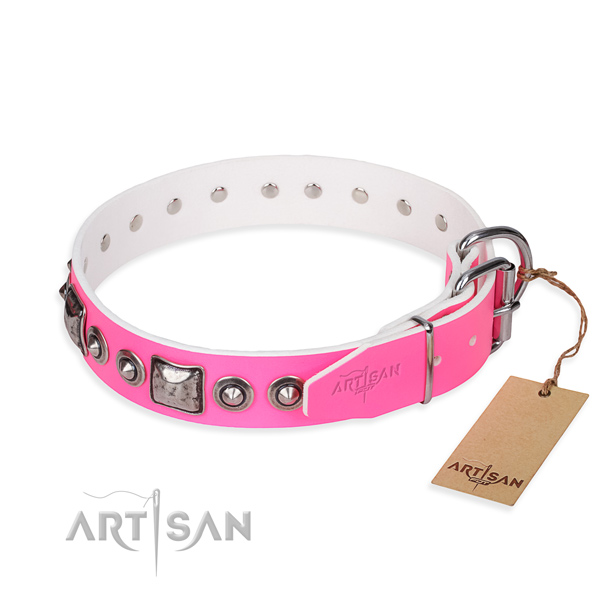 Soft full grain leather dog collar handmade for basic training