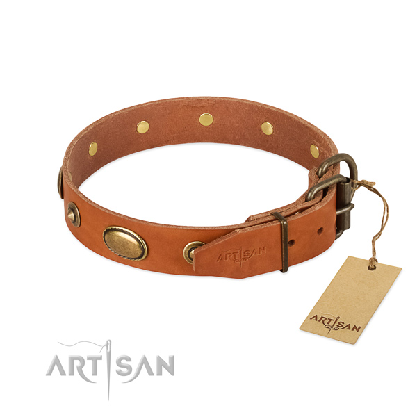 Corrosion resistant hardware on genuine leather dog collar for your canine