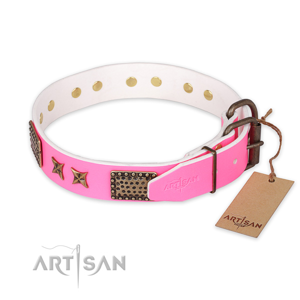 Reliable D-ring on natural genuine leather collar for your beautiful dog