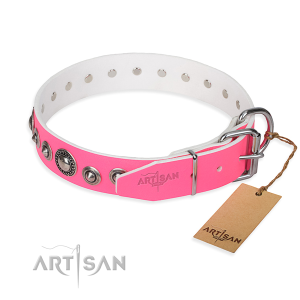 Full grain natural leather dog collar made of soft material with durable studs