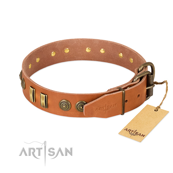 Corrosion resistant hardware on leather dog collar for your doggie
