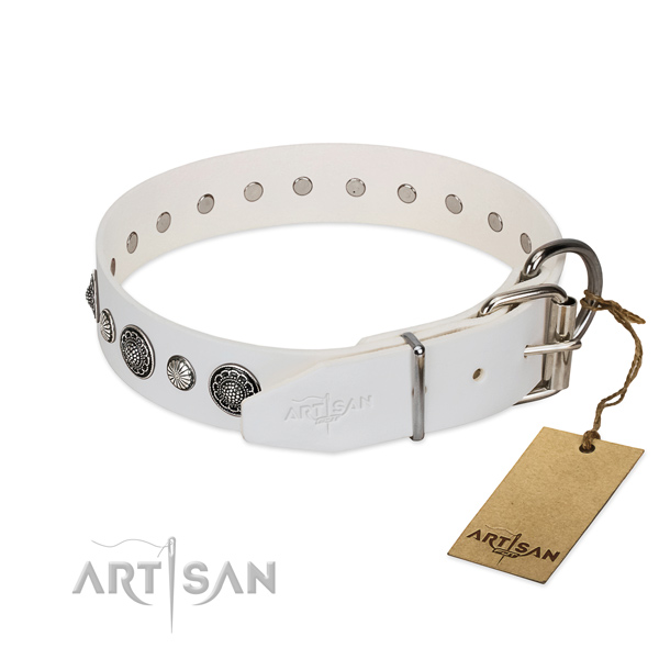 Flexible genuine leather dog collar with corrosion resistant hardware