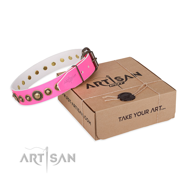 Top rate full grain natural leather dog collar created for comfy wearing