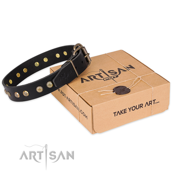 Rust-proof hardware on full grain leather collar for your handsome four-legged friend
