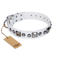 """Lustre of Fame"" FDT Artisan White Studded Leather Pitbull Collar"