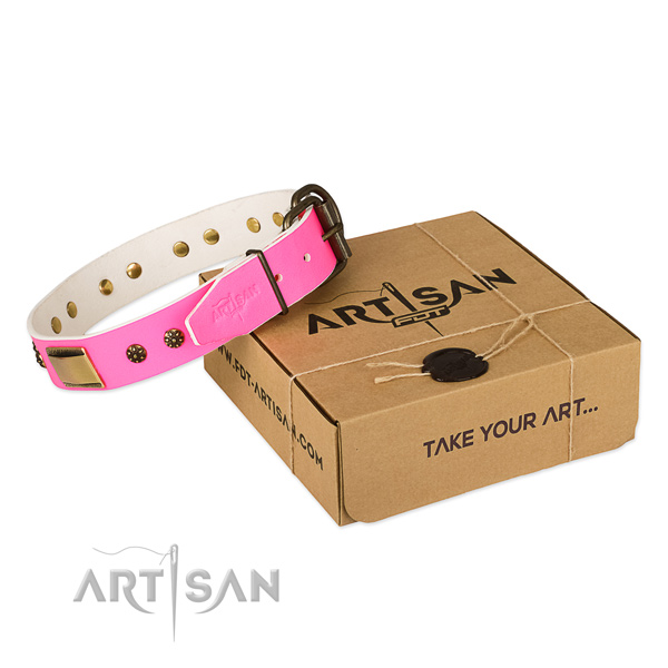 Easy to adjust full grain natural leather collar for your beautiful pet