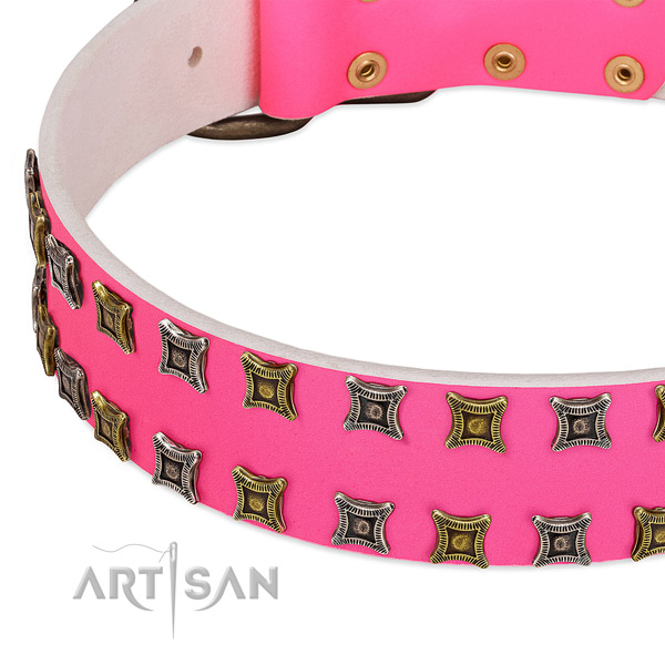 Full grain genuine leather dog collar with awesome decorations