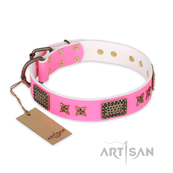 Convenient genuine leather dog collar with corrosion proof traditional buckle