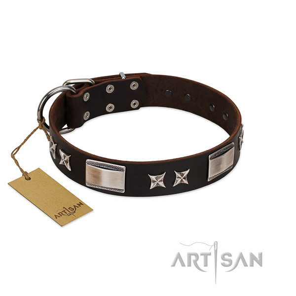 Adjustable dog collar of natural leather