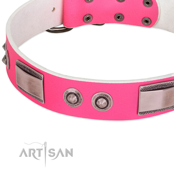 Top notch full grain leather collar with decorations for your pet