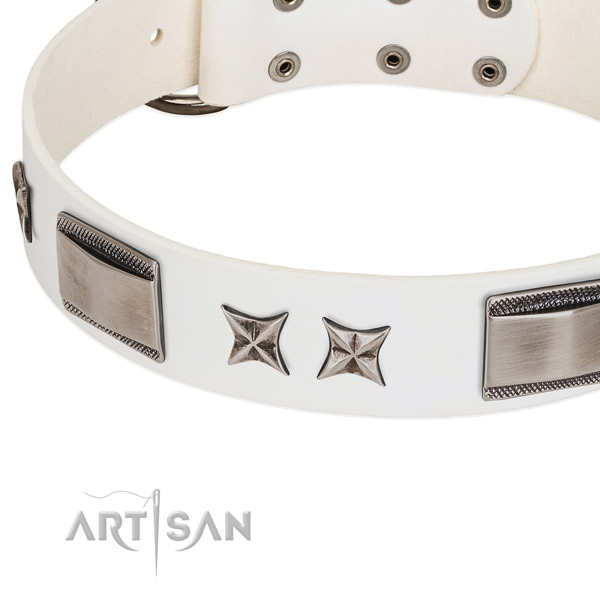 Flexible full grain natural leather dog collar with corrosion proof buckle