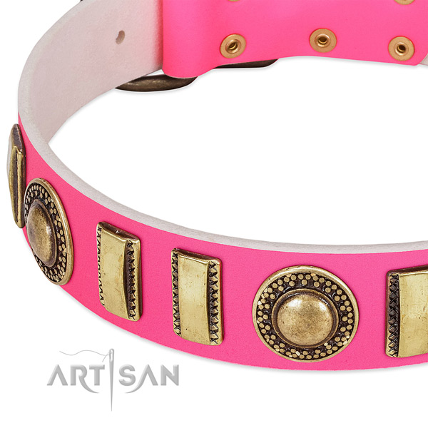 Gentle to touch genuine leather dog collar for your stylish four-legged friend