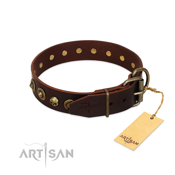 Natural leather collar with extraordinary decorations for your dog