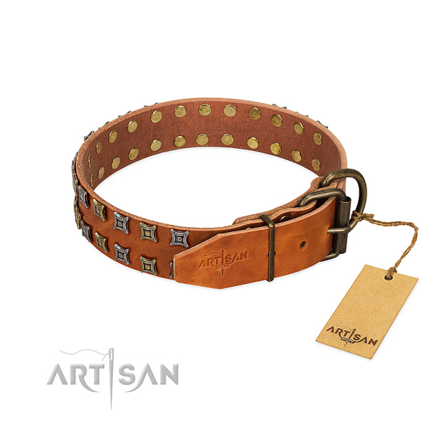 Flexible genuine leather dog collar created for your canine