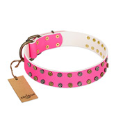 """Blushing Star"" FDT Artisan Pink Leather Pitbull Collar with Two Rows of Small Studs"