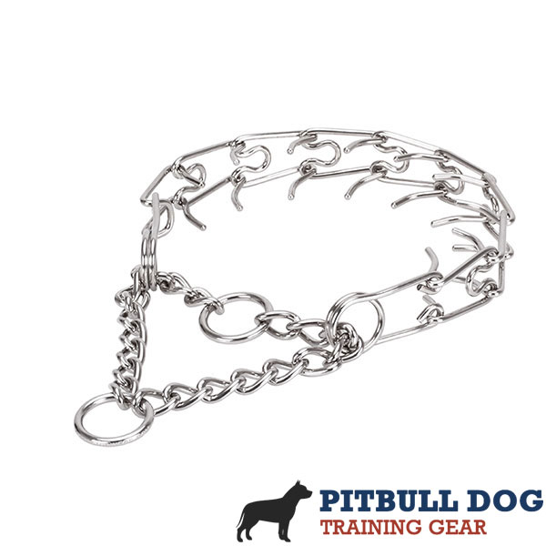 Prong collar of corrosion resistant stainless steel for ill behaved pets