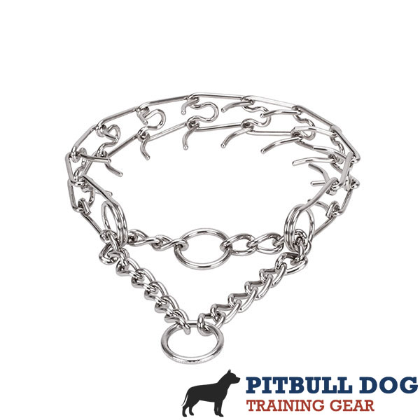 Adjustable stainless steel dog prong collar with removable links for medium and large dogs
