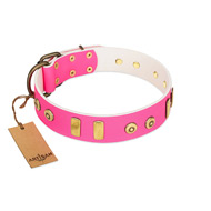 """Prim'N'Proper"" Handmade FDT Artisan Pink Leather Pitbull Collar with Old Bronze-like Dotted Studs and Tiles"