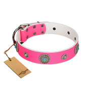 """Chili Mood"" Designer Handmade FDT Artisan Pink Leather Pitbull Collar"