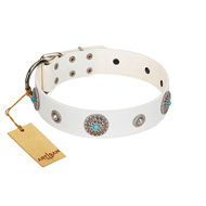 """Lush Life"" Designer Handcrafted FDT Artisan White Leather Pitbull Collar with Blue Stones"