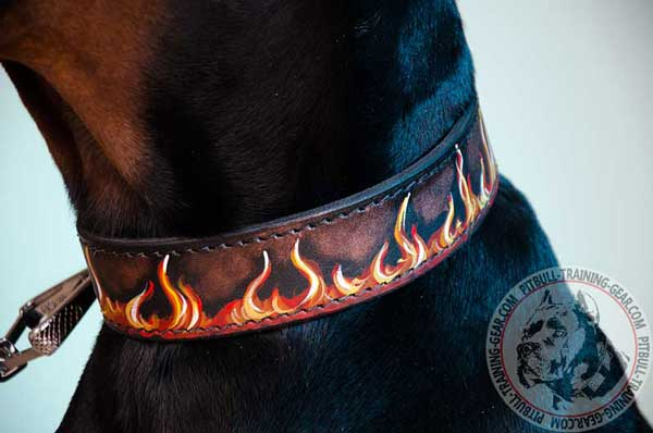 Adjustable Painted Flames Leather Dog Collar for Training
