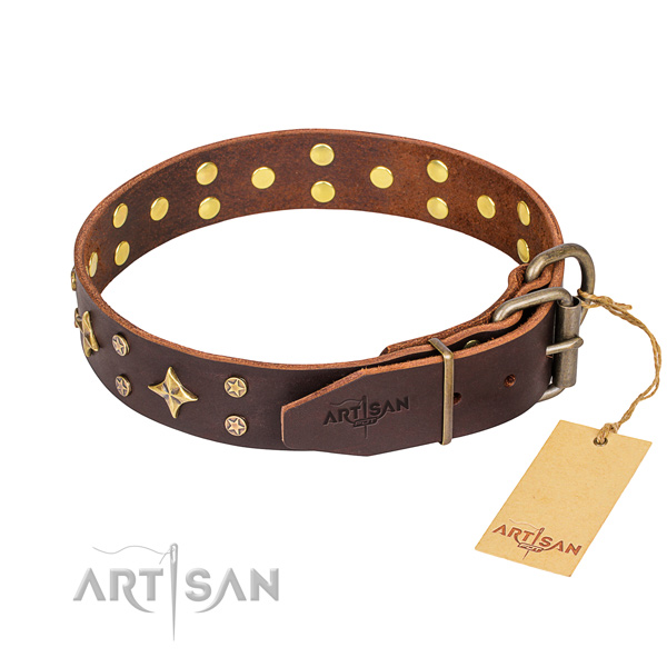 Stylish walking natural genuine leather collar with adornments for your pet
