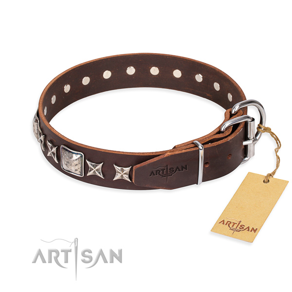Handy use full grain genuine leather collar with decorations for your canine