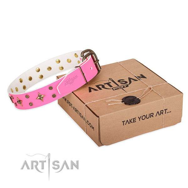 Decorated full grain natural leather dog collar for comfy wearing