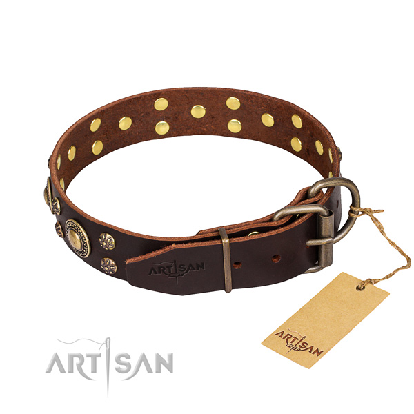 Everyday walking natural genuine leather collar with studs for your doggie