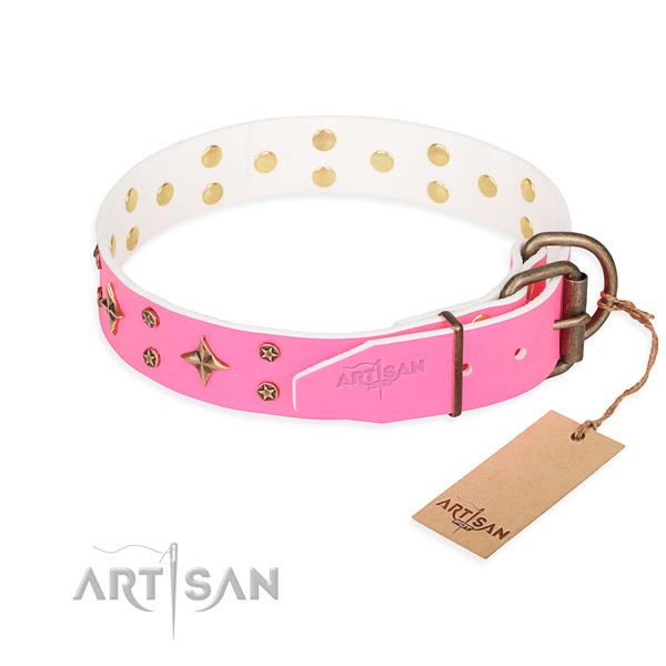 Handy use natural genuine leather collar with decorations for your canine