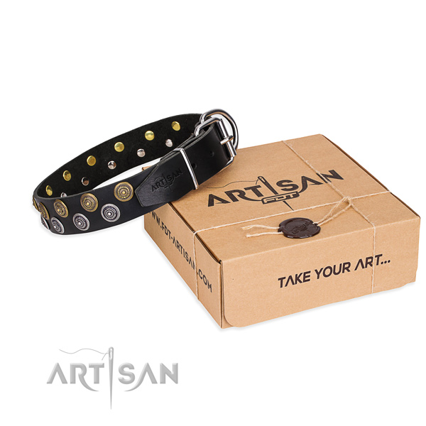 Full grain genuine leather dog collar with decorations for walking
