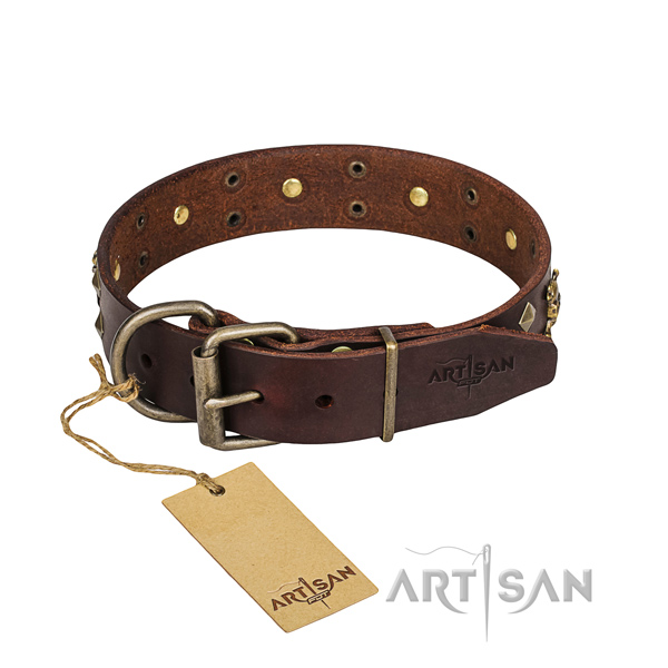 Leather dog collar with worked out edges for convenient daily use