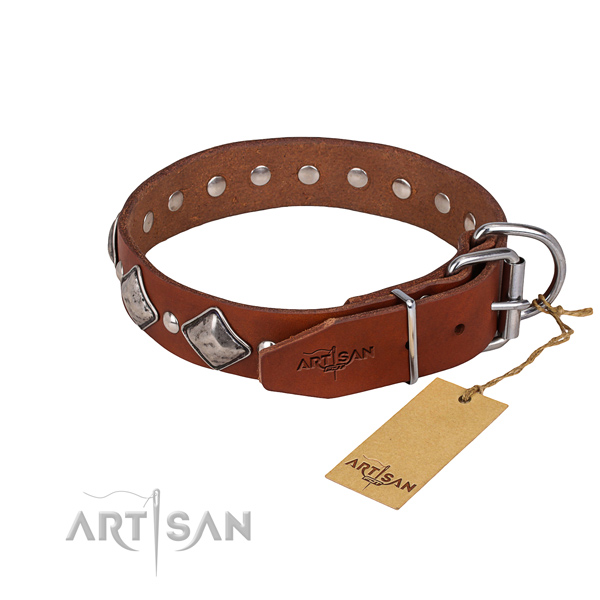 Full grain genuine leather dog collar with smoothly polished exterior