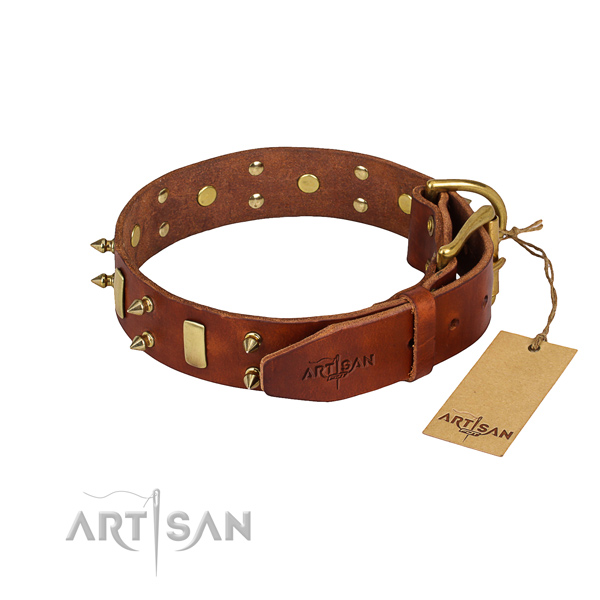 Full grain natural leather dog collar with smooth exterior
