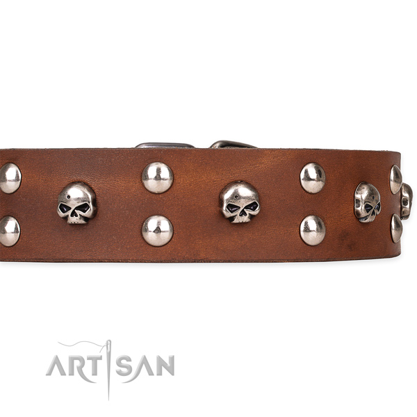 Full grain leather dog collar with smoothly polished exterior