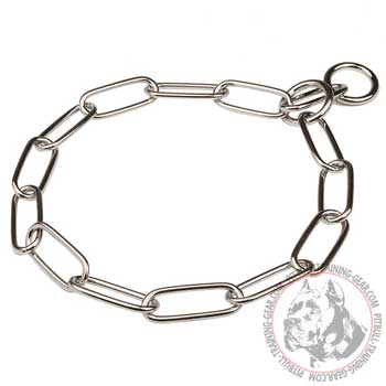 Chrome Plated Steel Pitbull Choke Collar with 4 mm Links