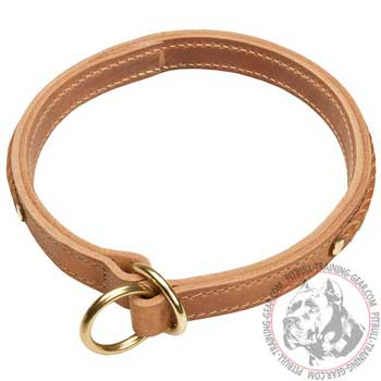 Leather Pitbull Choke Collar with Rust Resistant Fittings