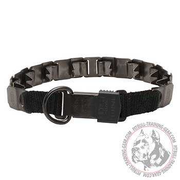 Pit Bull Neck Tech Collar with Symmetrical Short Prongs