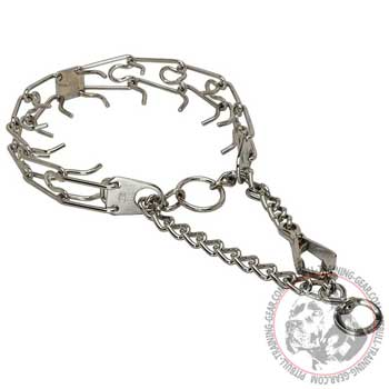 Chrome Plated Steel Pitbull Pinch Collar with Swivel