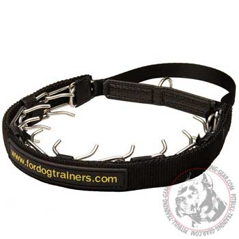 Stainless Steel Pitbull Pinch Collar with Nylon Removable Protector