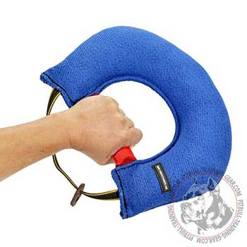 Pitbull dog bite tug with hard and flexible handles