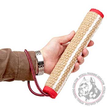 Dog training jute roller to develop bite skills