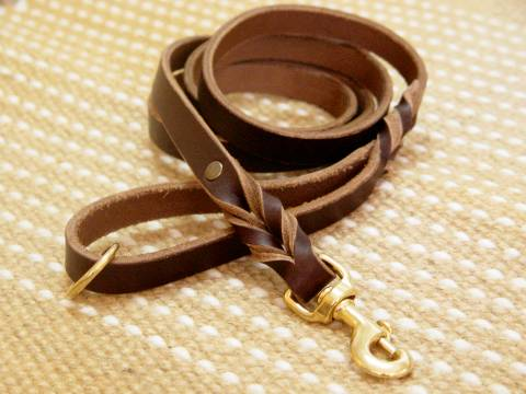 20 mm Leather Pitbull Leash with Decorative Braids