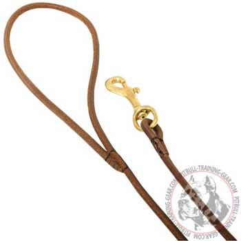 Extra Strong Handle and Brass Hook of Round Leather Dog Leash