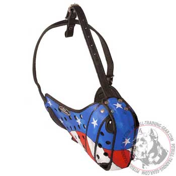 Designer leather American Pit Bull Terrier muzzle