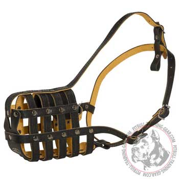 Basket Easy Adjustable Leather Pitbull Muzzle
