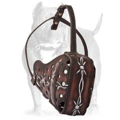 Easy handling leather dog muzzle